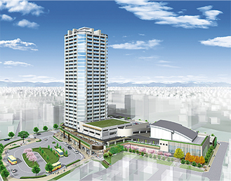 再開発のイメージ図。駅前広場にバスロータリー、タクシー乗り場も今回新設される