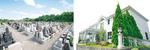 右:お線香や献花など、お墓参りに必要な物は何でも揃う管理事務所 左:広大な敷地は全てバリアフリー