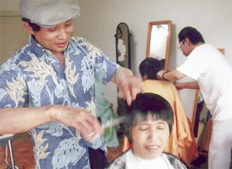 髪をカットする早川さん