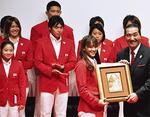 田中理恵選手ら全選手が表彰された