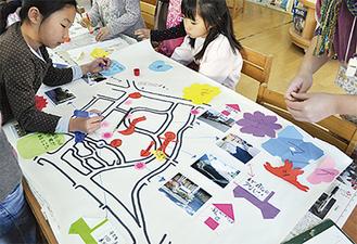 安全マップ作りに挑戦する児童たち