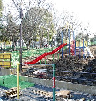 荏田猿田公園の新しくなる複合遊具