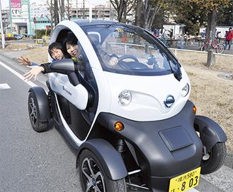 区内でモニター調査中の日産自動車(株)が開発した超小型電気自動車