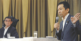 対談する福田氏(右)と河野氏=新横浜国際ホテル