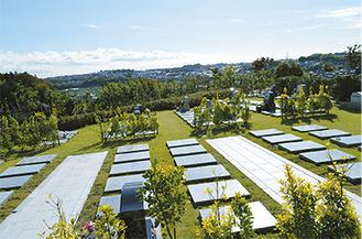 欧風庭園を思わせる、芝区画「さくら区」。目の前に空が広がり、街を一望できる