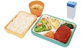 ハマ弁セットA〈肉〉(おかず・ごはん・汁物・牛乳)470円の例