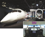 航空宇宙ゾーンには実物大展示や操縦体験も
