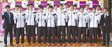 12月21日、渋谷キャンパスで行われた壮行会で激励を受ける選手たち