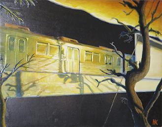 江田駅を描いた展示作品