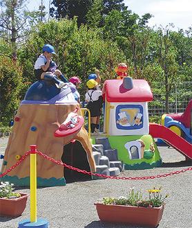 安全に配慮し、3歳以下の園児が遊べる「ちびっこ広場」