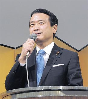 講演する江田氏=同氏事務所提供