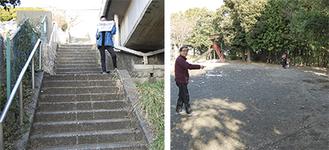 整備場所を紹介する増田代表(右)と藤井代表(左)