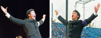 東京大学の酒井主将(左)と立教大学の黒田団長=提供