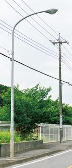 水銀ランプを使った道路照明灯=瀬谷区