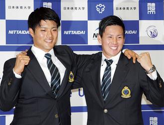 日体大の二枚看板、松本選手(左)と東妻選手
