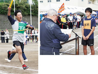 (写真右)優勝した保木自治会、(写真左)リレーで1着を飾った下谷自治会