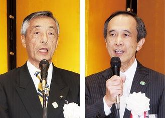実行委員会の関根会長(左)と小出区長
