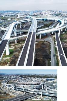 横浜青葉JCT付近(写真上)と横浜港北JCT付近=首都高(株)提供