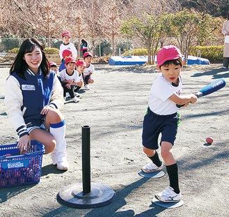 ボールを打つ練習