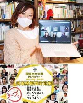 学生と企画を紹介する村尾さん(写真上)CFサイトでは学生たちがPR