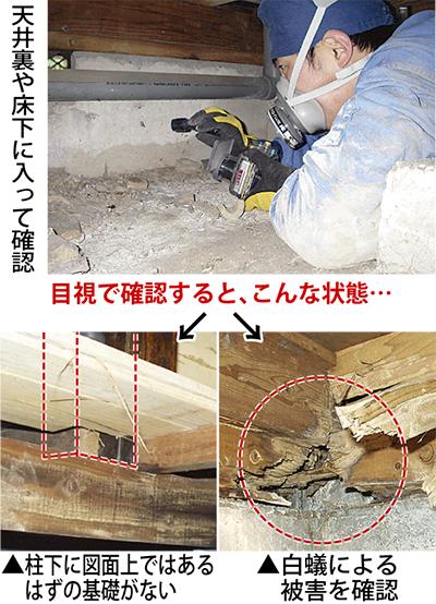 天井裏、床下まで目視で確認精度の高い無料の耐震診断