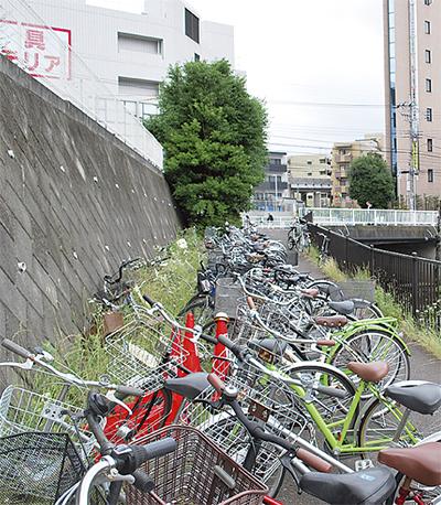 増える早渕川沿いの違法駐輪