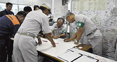 消防団と初の動員訓練