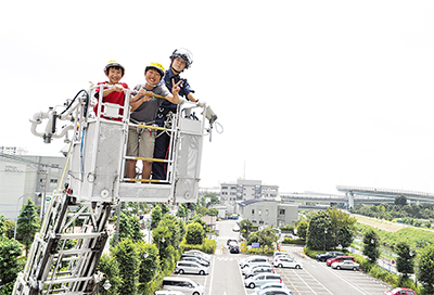 はしご車から街を一望