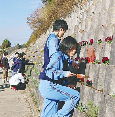市ケ尾の護岸に花植え