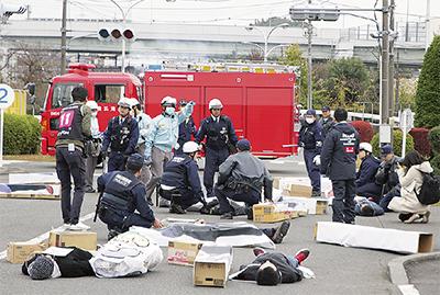死傷者の発生を想定した訓練現場