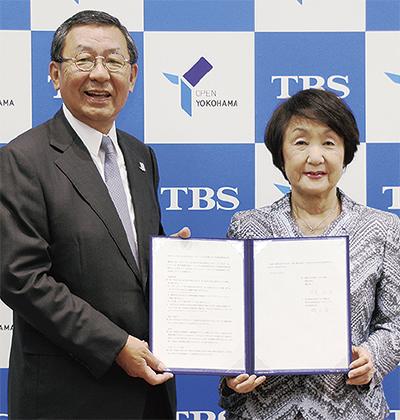林市長(右)とTBSの武田社長