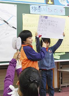梅田川についてクイズ形式で発表する児童