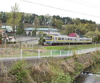 奈良川に沿って走るこどもの国線