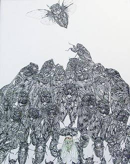 60匹のセミが描かれている「夏の襲来」