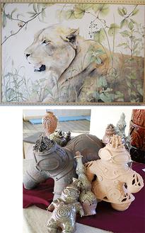 教育長賞を受賞した清野さんの作品(上)と倉田さんの作品(右)