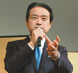 講演する江田氏=江田事務所提供