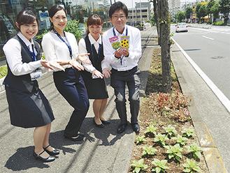 歩道沿いに苗を植え替えたスタッフ