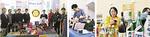 ホワイエを盛り上げた協力店・団体ら(左から横浜緑ロータリークラブと地球市民ACTかながわ、吉岡接骨院、岸田屋酒店)