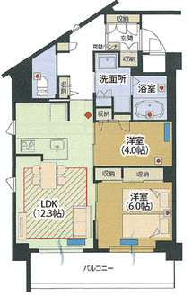 横浜鴨居の間取り図の一例(2LDK)。1R〜2LDKなど様々なタイプを用意