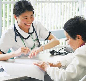 健康をチェックする学生