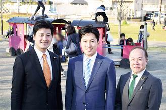 「児童虐待ゼロへ」と(左から)三谷衆議院議員、鴨志田氏、柳下県議会議員