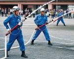 十日市場消防班による放水訓練