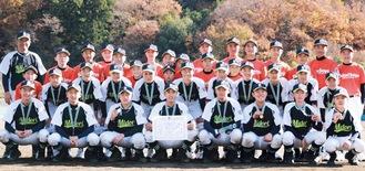 初優勝を果たしメダルを首にかける横浜緑ボーイズのメンバー(後列オレンジのユニフォームはBチーム)