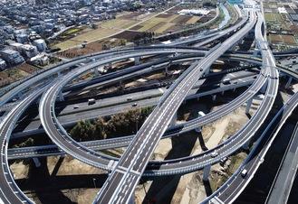 東名高速道路と直結する横浜北西線の横浜青葉ジャンクション=首都高(株)提供