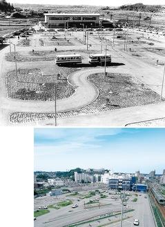 開校当時の鴨居自動車学校(写真上)と現在