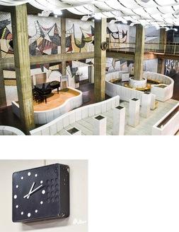 上/2層吹き抜けの大空間「市民広間」。下/執務室に見られたスピーカーと一体型の時計