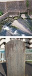 岩川堰(上)と改造記念碑(下)、区提供
