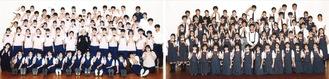 田奈中学校吹奏楽部(左)と十日市場中学校吹奏楽部(両部から写真提供)
