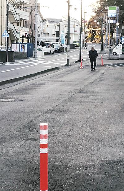歩道拡幅工事完成へ