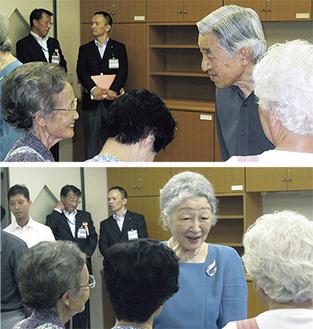 介護支援ボランティアに温かく話しかけられる天皇、皇后両陛下